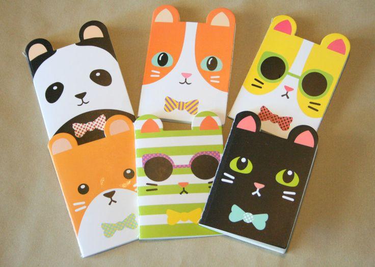 6 x Cat, Panda & Bear Small Notebooks, Kids  Party & Teacher Student Prizes