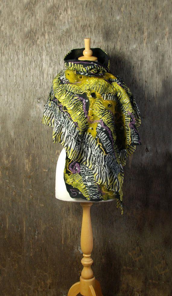 Nuno Felted scarf  felted shawl felt scarf merino wool by AnnaWegg