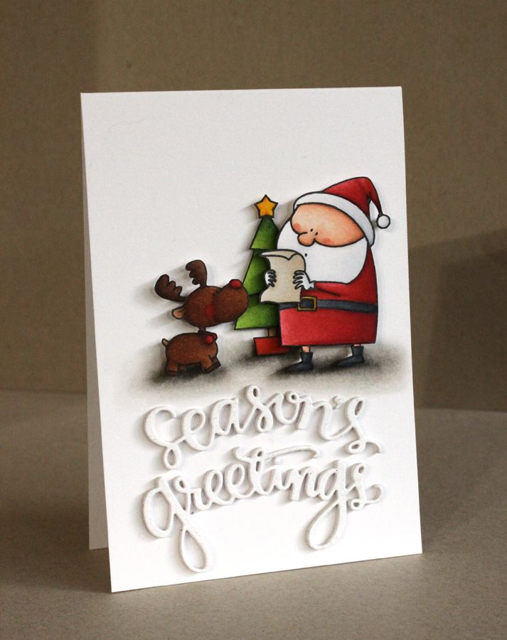 Alice Wertz: Alice's {Little} Wonderland – Happy Christmas! - 12/25/14.  (MFT stamps/dies: Jingle all the Way. Simon Says: Season's Greetings).  (Christmas: Pin#1: Santa... Pin+: Words..).