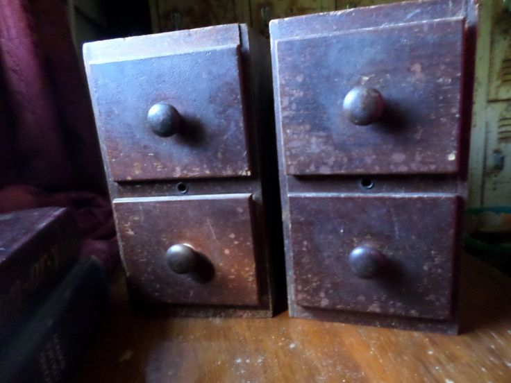 Vintage sewing machine drawers off of old Singer Sewing machine by rustyitems on…