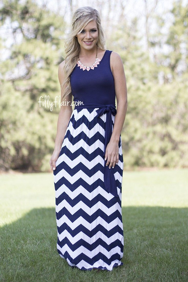 Play It Right Chevron Maxi in Navy from fillyflair.com!