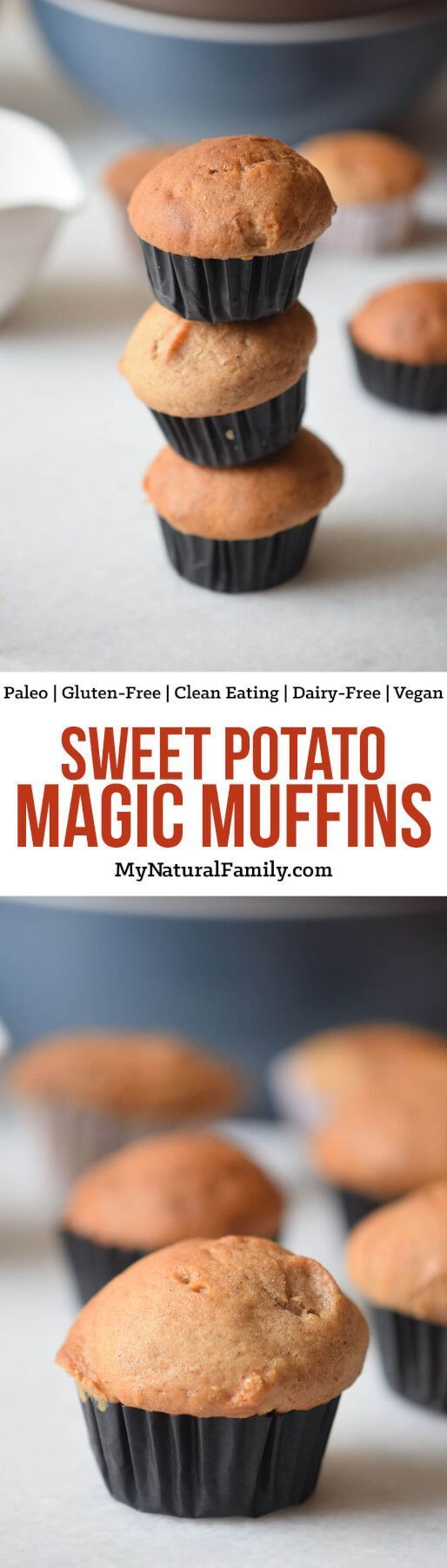 There are no flours at all in these flourless sweet potato muffins. Just sweet potato, eggs, honey, coconut, water and cinnamon. Seriously. They are like magic! They are Paleo, Gluten-Free, Clean Eating, Dairy-Free and Vegan too.