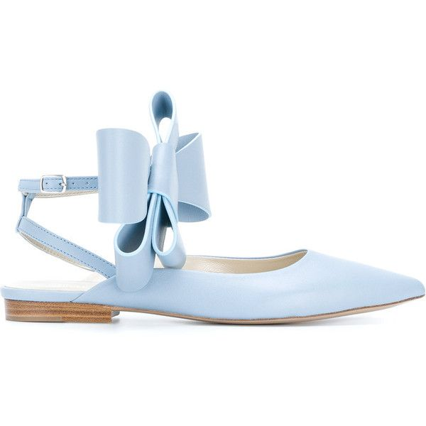 Delpozo bow embellished ballerina shoes ($684) ❤ liked on Polyvore featuring shoes, flats, blue, ankle wrap ballet flats, blue ballet flats, leather flats, leather pointed toe flats and blue flats
