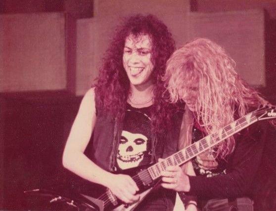 "johnbelushi: "" Kirk Hammett & James Hetfield during the Master of Puppets…"