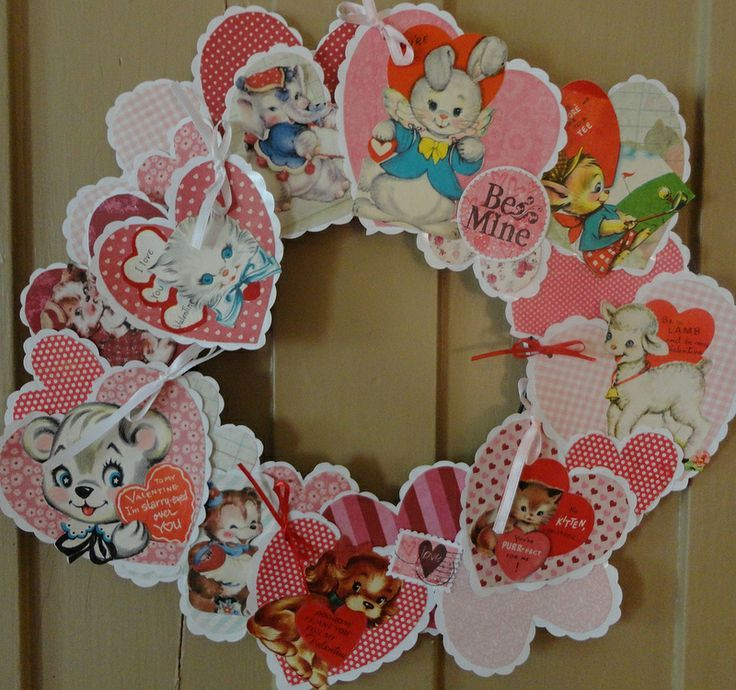 DIY Valentine Wreath Use Valentines Card to Make a Cute and – Cheap Valentines Card