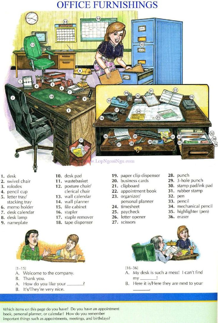 84 - OFFICE FURNISHINGS - Picture Dictionary - English Study, explanations, free exercises, speaking, listening, grammar lessons, reading, writing, vocabulary, dictionary and teaching materials