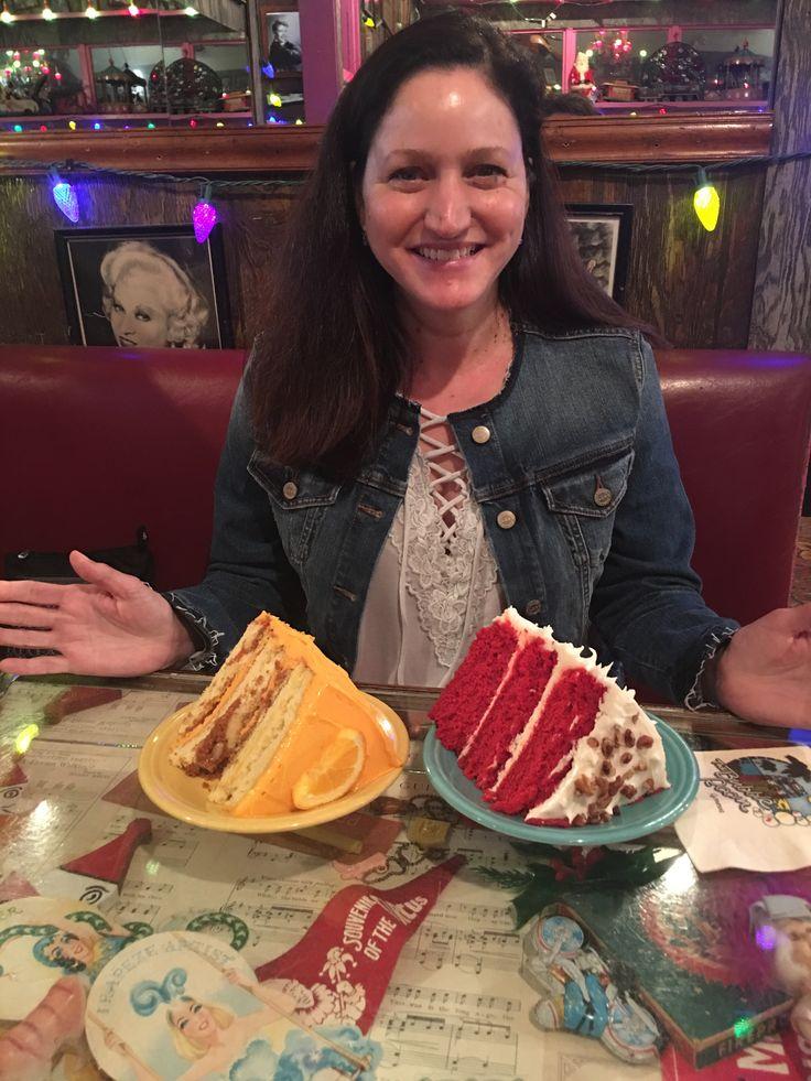 Orange Crunch Cake and Red Velvet Cake at the Bubble Room, Captiva, FL.