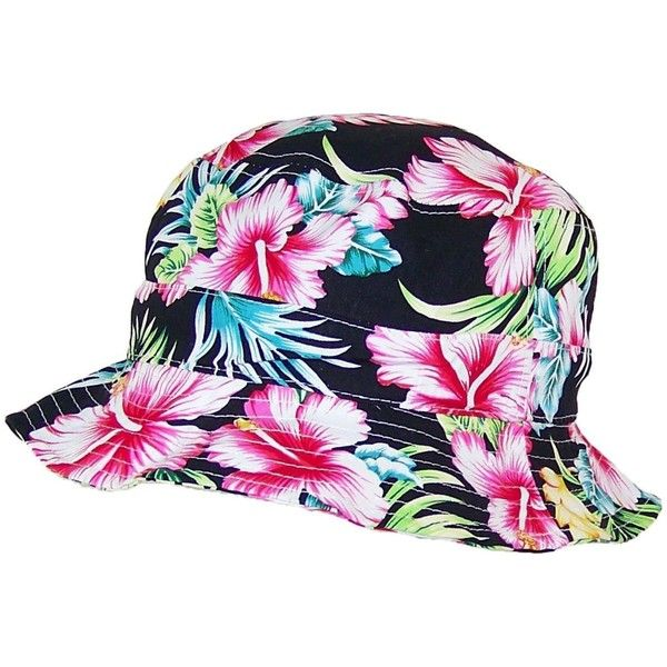 ICON Lightweight Tropical/Hawaiian/Floral Designed Floppy Bucket Hat... ($7.99) ❤ liked on Polyvore featuring accessories, hats, fishing hat, floral bucket hat, floral print hat, hawaiian hats and hawaiian bucket hat