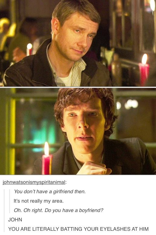 """Sherlock Pilot <----- John is way more flirty, just look how big that candle is!.... """"Of course he wants to be a father, look at that candle in between them!"""""""