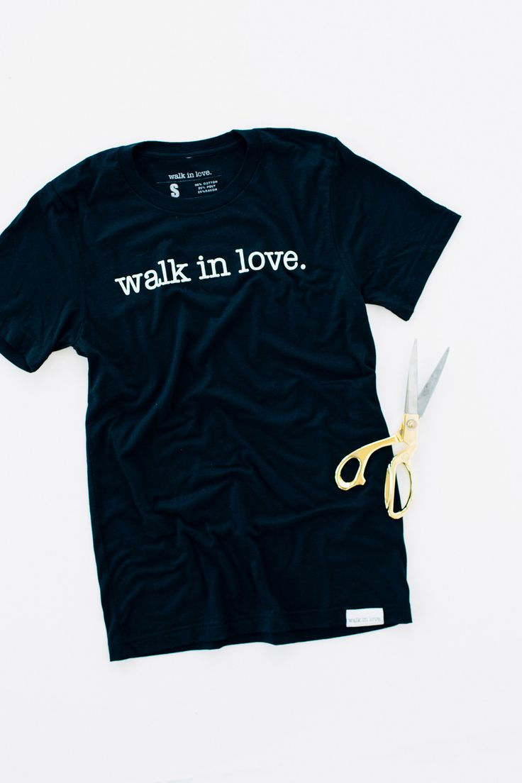 "I have always felt that the easiest DIY posts are the best. The ones that make you go, ""Now why didn't I think of that?"" And I'm pleased to say that this project is one of them. Grab your favorite walk in love. t-shirt and a pair of sharp scissors and you're ready to go!"