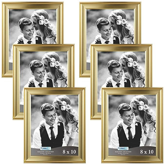 Amazon Com Icona Bay 8x10 Picture Frame 6 Pack Gold Gold Photo Frame 8 X 10 Wall Mount Or Rose Gold Picture Frame Gold Picture Frames Gold Photo Frames