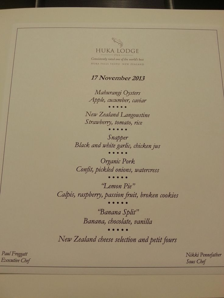 The Lunch Menu for the Parkinsons Charity Event.