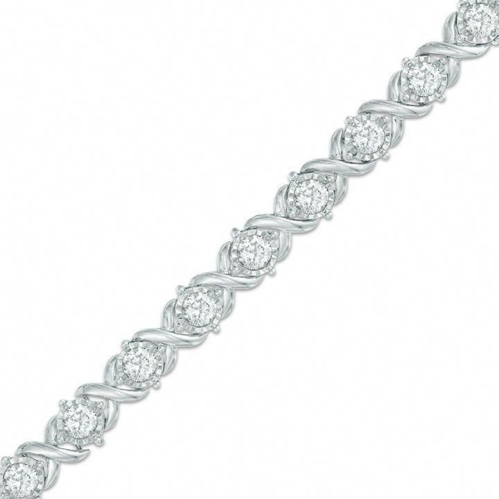 Zales 4 Ct T W Diamond Tennis Bracelet In 10k White Gold Tennisbracelets Sparkly Bracelets Diamond Necklace Designs Bracelets Gold Diamond