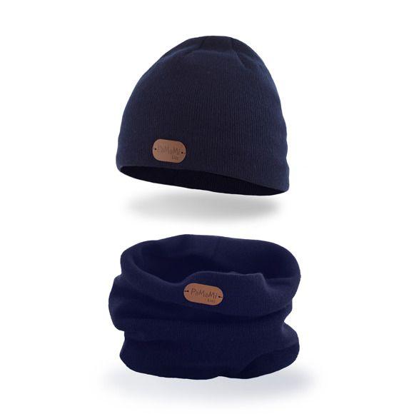 PaMaMi Jungen Mütze Kinder Boy Boys Kids dunkelblau blau 17214 Schals dazu im Shop