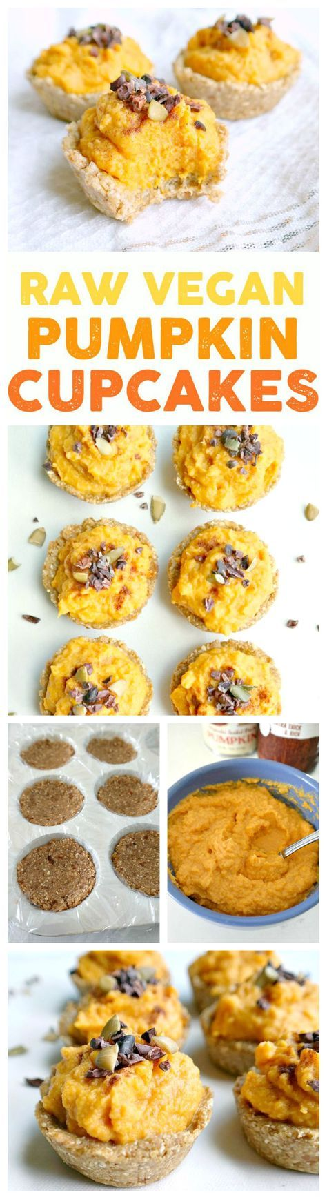Raw Vegan Pumpkin Cupcakes! Gluten-Free, Festive and perfect for Fall. These cute little raw cupcakes are super simple to make using whole food ingredients like medjool dates, rolled oats, pumpkin and coconut cream. From The Glowing Fridge