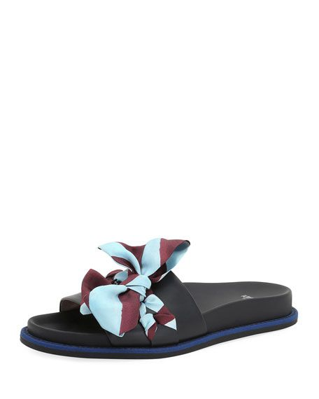 FENDI Ribbon-Laced One-Band Slide Sandal, Black/Blue. #fendi #shoes #