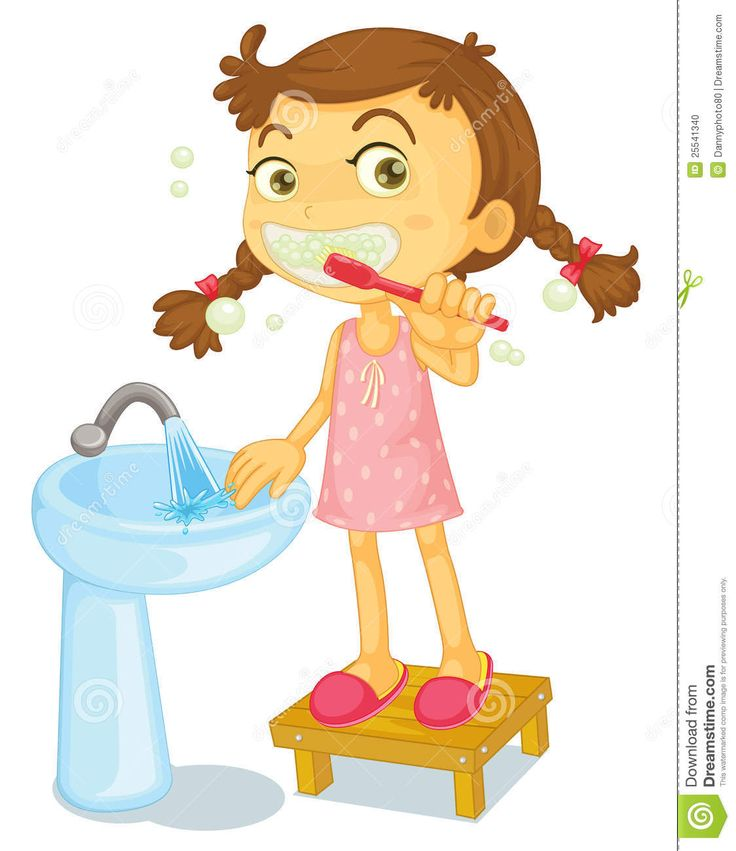 girl brush teeth clipart - Google Search