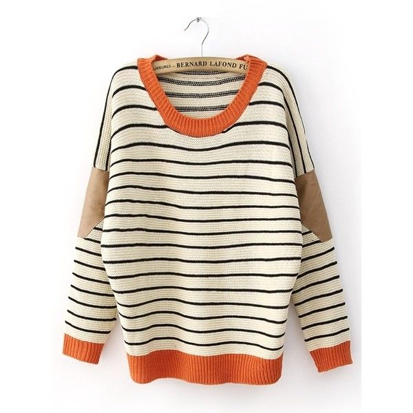 Striped Leather Sleeve Pad Beige Pullover- so cute!