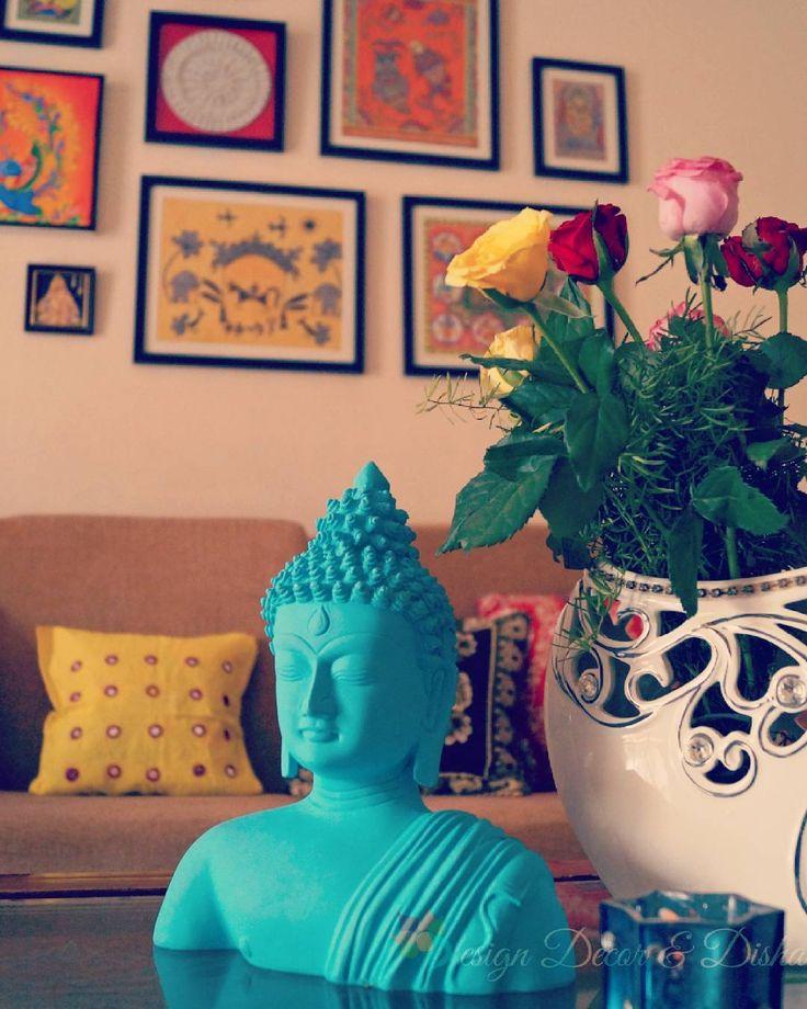 "Disha Mishra Dubey http://designdecoranddisha.blogspot.com Buddha Decor, Zen, Zen Decor, Zen Corner, Zen Spot, Buddha, Living Room Decor, Gallery Wall, (@designdecoranddisha) on Instagram: ""When sister sent a bouquet full of roses.... I went berserk, styled them in various ways and kept…"""
