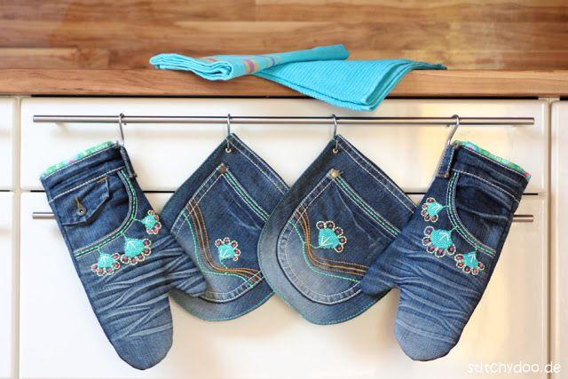 Mount Denim ade! | Handbestickte Küchenhelferlein aus Jeans