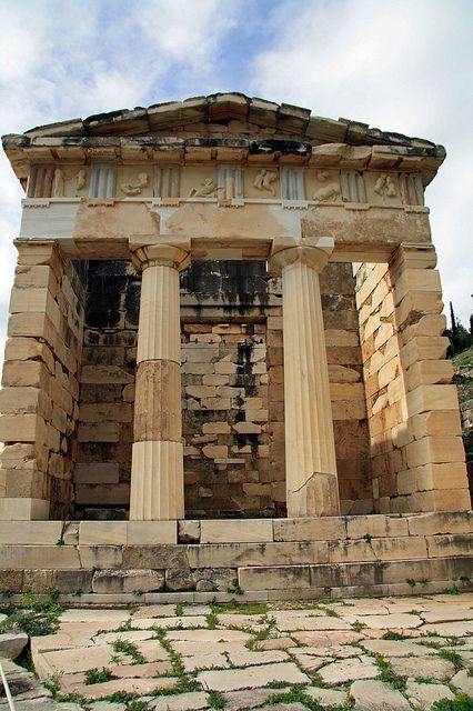 Delphi - Athenian Treasury, Delfoi, Sterea Ellada, Greece by Malcolm Bott
