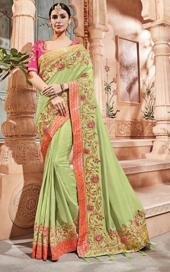 Art Silk Parrot Green Designer Saree In 2019 Party Wear