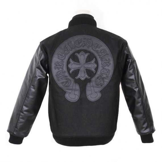 CH Logo embellished front. 925 Silver Cross button.  Swords pocket zipper head.  Chrome Hearts Black Leahter Horseshoes Cross Jacket. Black Leather Horseshoes Cross Back. 100% Polyester. Machine Wash. Warm. Tumble Dry.  http://www.chromeheartsstorevip.com/chrome-hearts-black-leahter-horseshoes-cross-jacket-safe-shipping-p-433.html