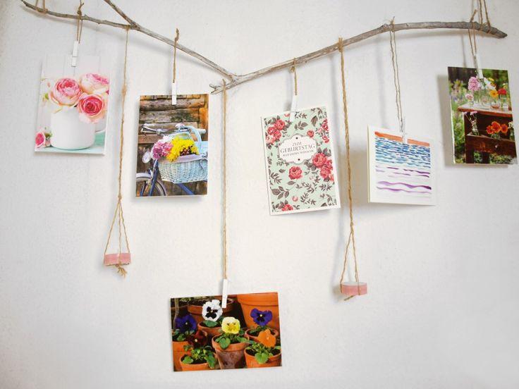 DIY Deko-Ast: Grußkarten von Hanra hübsch aufhängen