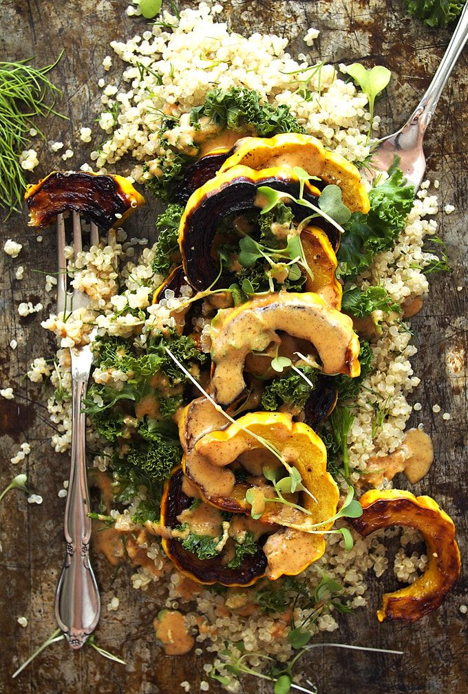 Kale, Delicata, Dill Quinoa Salad with Spicy Almond Butter Dressing | thekitchenpaper.com: