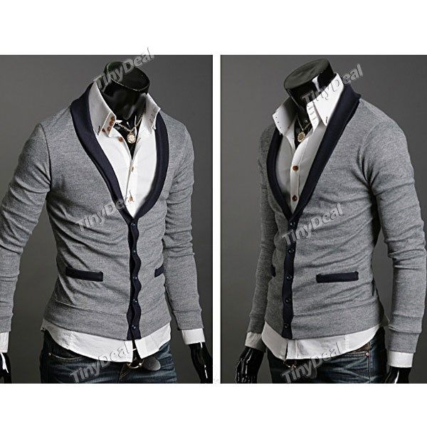 Men's Casual Cardigan with V Neck & Long Sleeve NDD-76997