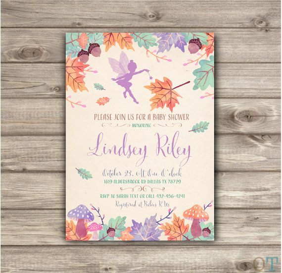 Woodland Fairy Baby Shower Invitation Fall Autumn Leaves Garden Invitations Fall Baby Shower Acorns Fairy Forest Baby Girl