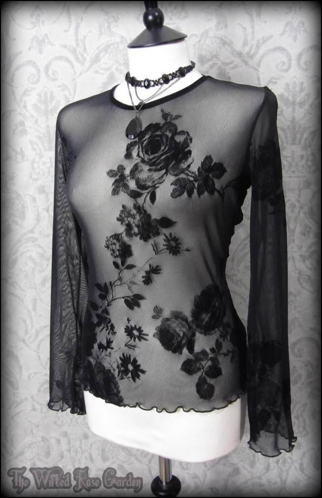 Romantic Goth Black Velvet Rose Flock Sheer Under Corset Top 10 12 Vintage Vamp | THE WILTED ROSE GARDEN