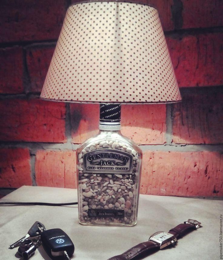 """Купить Лампа """"Gentelman Jack"""" - комбинированный, лампа, виски, лофт, подарок, стекло, стекло, галька"""