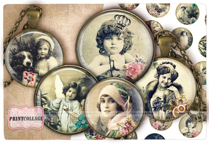 Digital Collage Sheet Vintage Christmas Cabochon images 1.5inch 18mm 14mm 1inch circle Printable images Instant download bottle caps c148 - pinned by pin4etsy.com