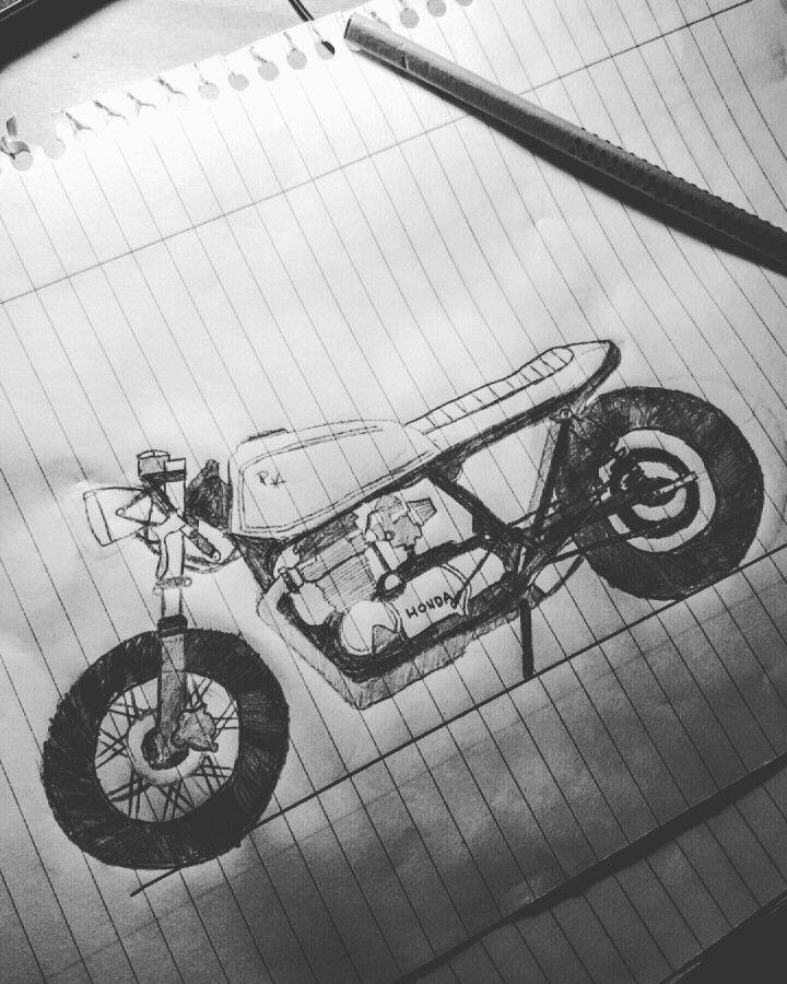 Honda cb 650 cafe racer sketch