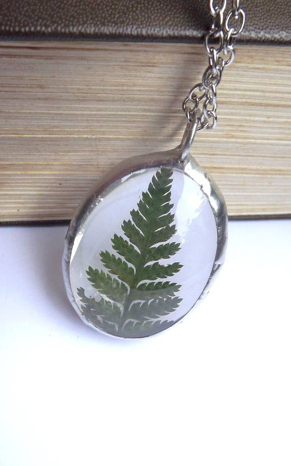 Fern. Glass terrarium necklace. Real fern necklace. Terrarium
