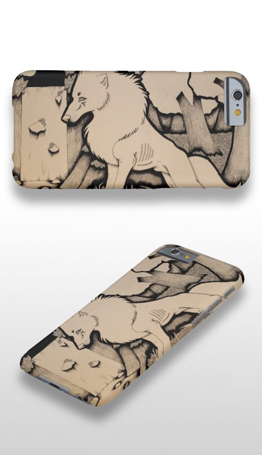 """""""Across the River"""" Black and white illustrated wolf iPhone 6 Case"""