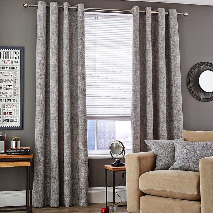 Monochrome Vermont Eyelet Lined Curtains | Dunelm