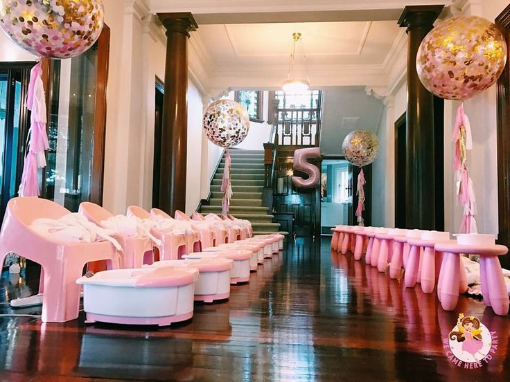 """55 Likes, 12 Comments - We Came Here To Party (@wecameheretopartyaus) on Instagram: """"🌸Welcome to Zoe's Princess Pamper + High Tea birthday🌸 This pamper was set up in the hallway of…"""""""