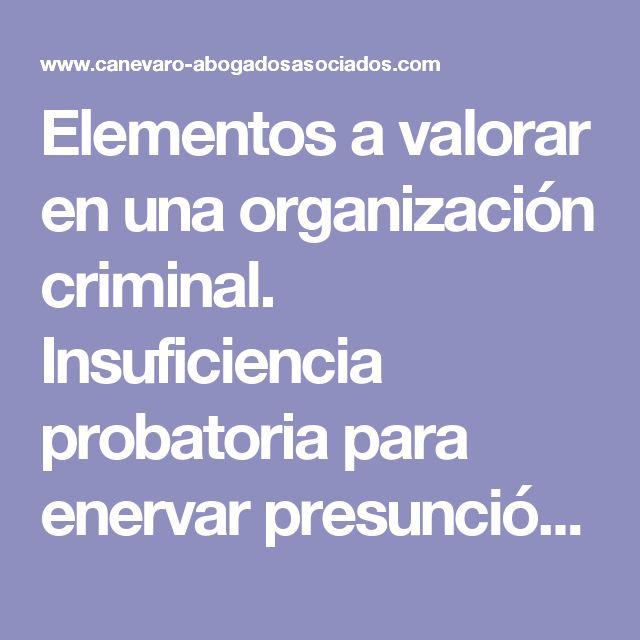 Elementos a valorar en una organización criminal. Insuficiencia probatoria para enervar presunción de inocencia. | canevaro-abogados