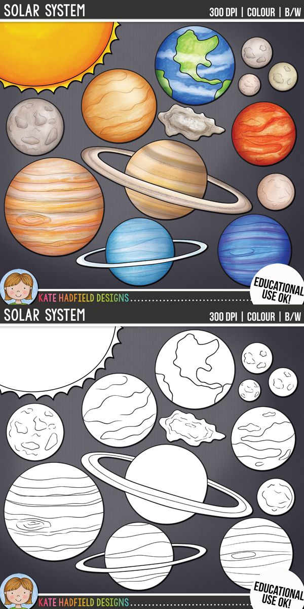 Solar System / planet clip art for teachers! Includes coloured clipart + black & white outlines all at 300 dpi for highest quality printing for your teaching resources and projects! | Hand-drawn clip art by Kate Hadfield Designs at Teachers Pay Teachers