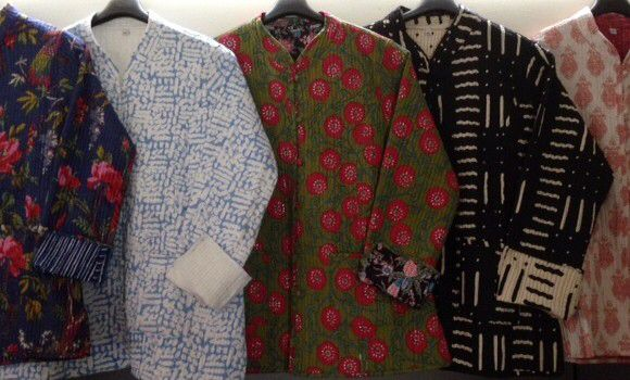 Beautiful block print, cotton padded jackets from India. Available at Moti.com.au.