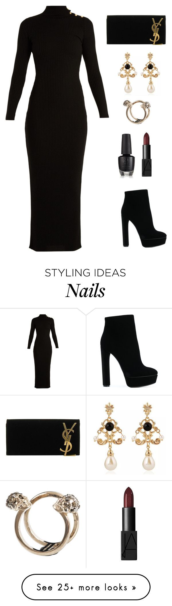 """""""Back to Black"""" by vanittas on Polyvore featuring Balmain, Casadei, Yves Saint Laurent, WithChic and Alexander McQueen"""