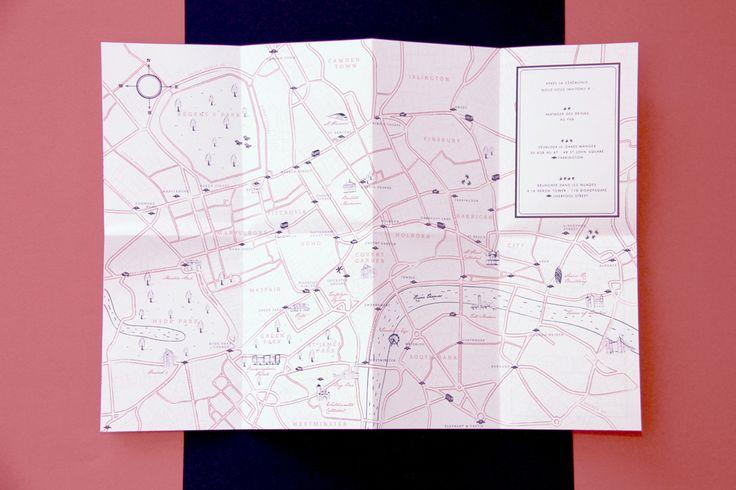 Wedding Invitation - London map - by Allons-y Alonso design d'invitation & fun !