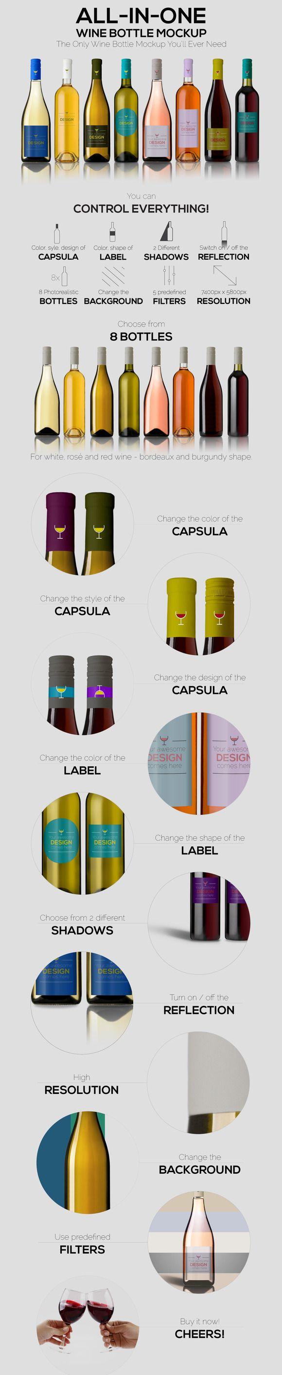 All-In-One Wine Bottle Mockup by zsoltczigler on @creativemarket