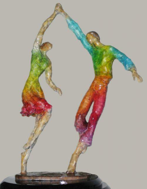 Bronze Human Figurative #sculpture by #sculptor Esther Wertheimer titled: 'Folk Dancers' #art
