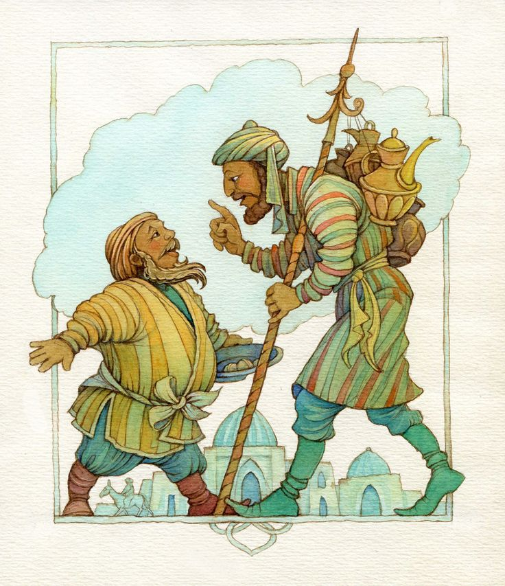 "Olga Monina illustration for ""The Magic Carpet : Uzbek Folk Tales ""."