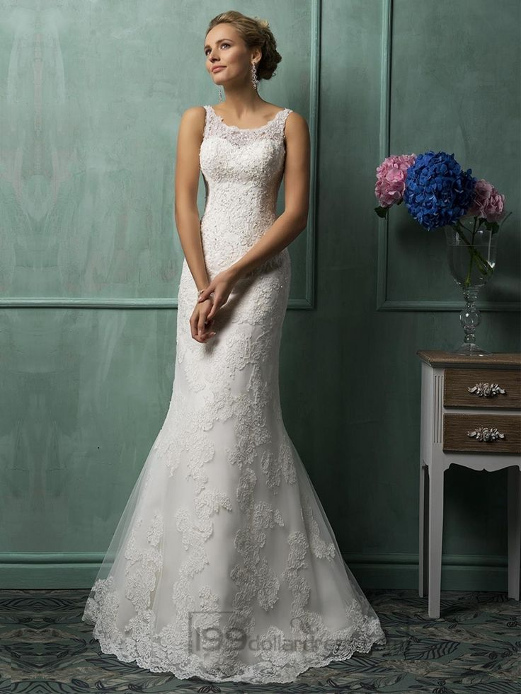 Square Neckline Lace Wedding Dresses