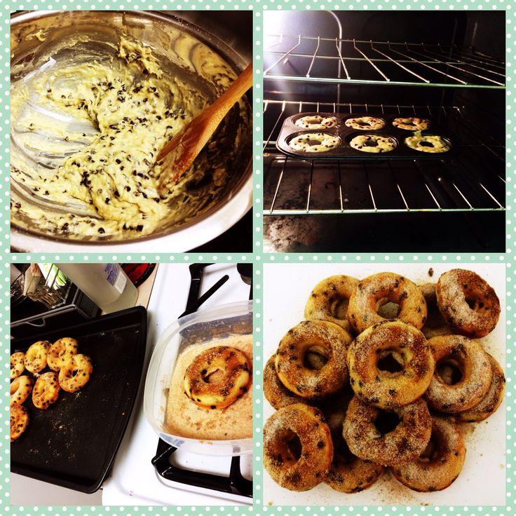 Homemade Banana Chocolate Chip Doughnuts! Easy and delicious! #DoughnutTime #Pinterestrecipe