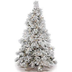 Vickerman Flocked Alberta Artificial Christmas Tree with Artificial Pine Cones and 150 Warm White LED Lights, 3.5' x 35""